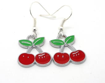 Silver cherry enamel earrings