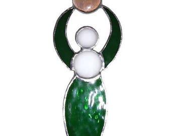 Goddess Stained glass Suncatcher - handmade, beautiful green stained glass Suncatcher, with green, Czech fired polished beads
