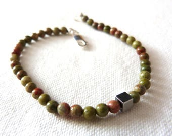 Bracelet, Silver 925 and natural stones / men's Green natural stones Bracelet