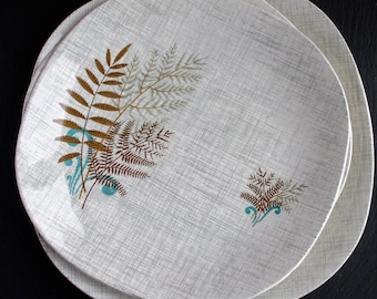 J and G Meakin Sol Rockfern Plates (3), Made in England, Midcentury Dining, English China Replacements, Dinner Plates
