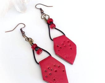 Earrings, red, ethnic style, polymer clay, Czech glass