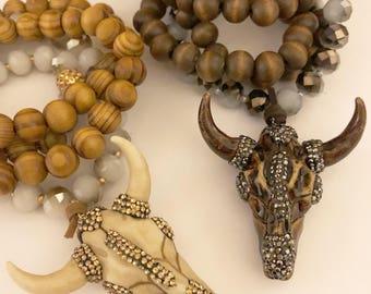 Sparkling Gems Bull Pendant Long Beaded Necklace.