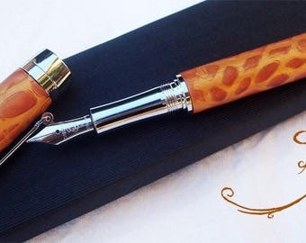 fountain pen leather effect bronze polymer clay