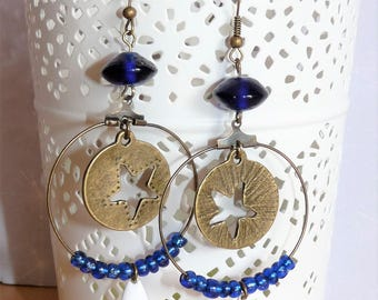 Earrings ' bronze hoop earrings with star charm and blue beads