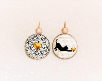 Earrings sleepers bronze cabochon cat musician and her gold heart