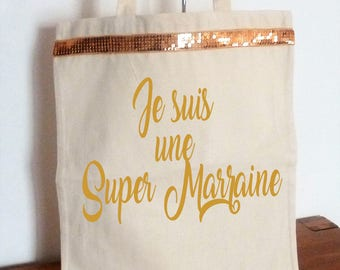 Bag Tote bag message I'm a great godmother, reusable, eco-friendly gold sequins