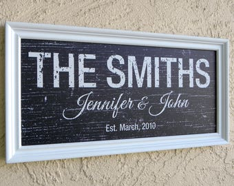 Modern Family Name Sign. Personalized Family Name Sign. Picture Frame Established Family Sign. Custom Family Name Sign. Wedding Gift. 10x20