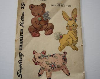 NOT a pdf - ORIGINAL 1940s SimplicityTransfer pattern, Embroidery transfer for stuffed animals toys for children, vintage Simplicity 7268