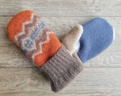 Best Wool Sweater Mittens // Womens Sweater Mittens // Fleece Lined mittens // Orange and Blue