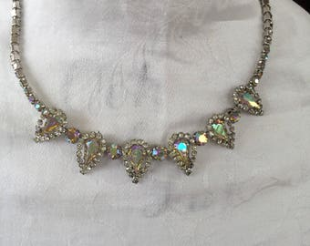"Weiss Aurora Borealis Rhinestone 18"" necklace"