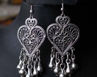 Filigree Oriental Ottoman Balkan Style Silver plated Telkari Tribal Boho Earrings