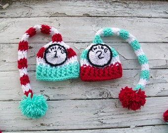 Thing 1 Thing 2 Hats, Baby Twin Hats, Costume Hats, Baby Hats, Crochet Newborn Hats, Photo Prop Hats, Crochet Baby Hats