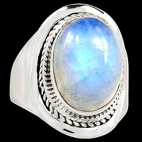 Rainbow Moonstone 925 Sterling Silver Ring Jewelry s.7.5