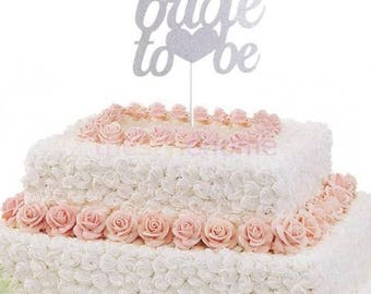Silver Bride to Be Cake Topper