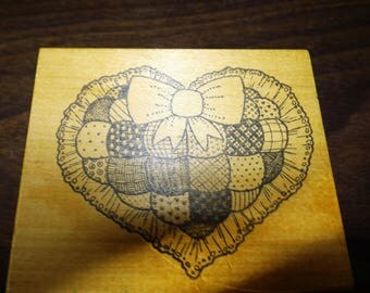 Quilted Heart Rubber Stamp, Vintage Stamps, Scrapbooking, Craft Supplies, Gift For Her, Rubber Stamps, Shabby Chic, Heart, Quilted, Gift