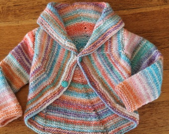 knitted coat, knitted, multicolor, blue, orange, white, hand knitted