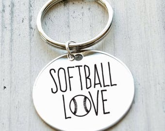 Softball Mom Personalized Key Chain - Engraved