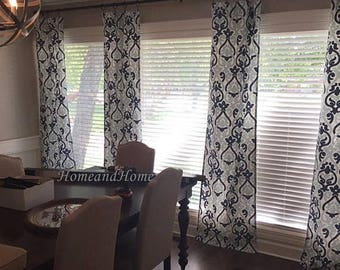 Summer SALE Curtains navy blue curtains custom drapery panels window treatment Custom panels Navy  blue White panles 50W Window curtains Ale