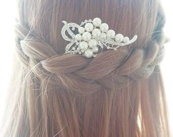 SALE-Wedding hair comb, wedding hair piece, wedding combs, bridal comb, wedding rhinestone comb, wedding head piece, ivory pearl hair comb