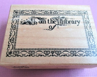 From the Library Of Craft Rubber Stamp Book Plate Stamp Wood Block Mounted Book Stamp Library Arts Craft Supply DIY Supply Bookplate Stamp