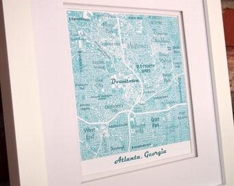 Atlanta Neighborhoods Map Art Print, Downtown Atlanta Map, GA Tech, Atlanta Map Art Seafoam