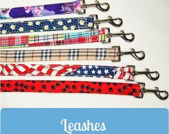 Soft comfortable dog leash -  All American, Violet, Daisies, Paw Prints, Plaid 6 feet, 4 feet, 6', 4'