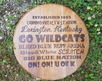 Go Wildcats Bourbon Barrel Head