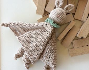 Eco friendly organic cotton crochet bunny security cuddle blanket