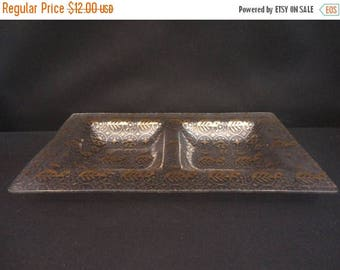 On Sale Vintage signed Georges Briard Forbidden Fruits 2 Compartment Glass Serving Tray
