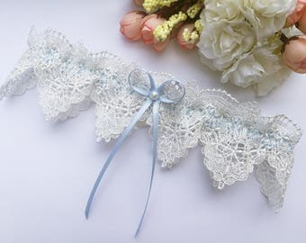 Something blue wedding garter, wedding garter, blue garter, pearl garter, venise lace garter, blue bridal garter