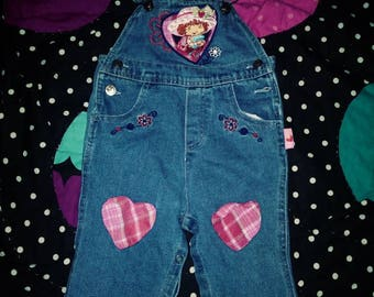 12 months vintage strawberry shortcake denim / jean overalls