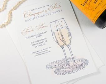 Bachelorette Party Invitations, Champagne and Pearls, Watercolor, Hand Drawn (set of 25 cards)