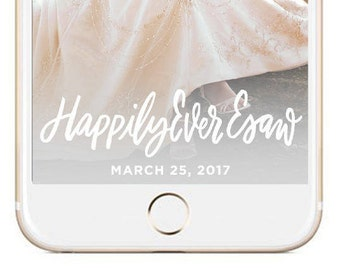 Silver Snapchat Hashtag Wedding GeoFilter | Personalized Custom Calligraphy On Demand Geo Filter
