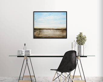 Landscape painting original abstract art oil painting blue umber modern art contemporary landscape wall art home decor design