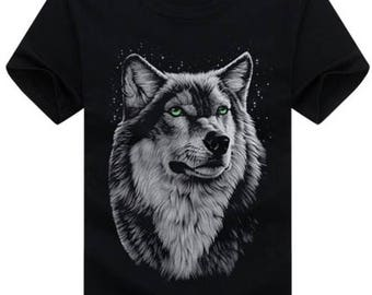 Wolf Shirt Wolves Tshirt Graphic Tee Shirt, Printed Tshirt, Wolf Clothes Gifts For Him, Outdoors Camping Hiking Wildlife T-Shirt Size S-5X