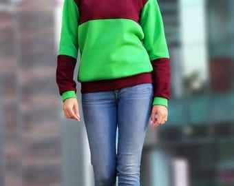 Handmade hoodie, Colorful hoodie, Symmetric hoodie, Green hoodie, Purplet hoodie, Hoodies for women, Cotton hoodie