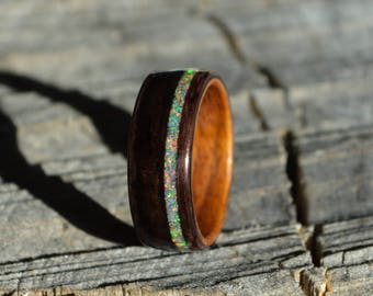 bentwood ring   wood ring   wood band   wood wedding band   ebony ring   ebony opal ring