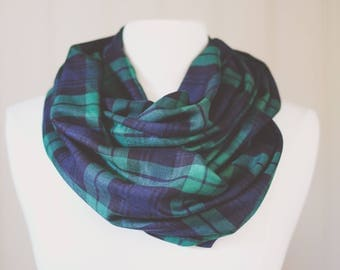 Plaid Infinity Scarf | Plaid | Double Wrap | Handmade | Green | Emerald | Blue | Navy Circle Scarf
