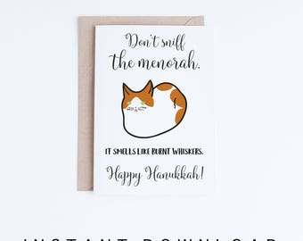 Printable Hanukkah Cards, Funny Orange and White Cat Hanukkah Card, Cat Humor, Cat Lovers, Cute Cat Illustration Card DIY, Digital Downloads