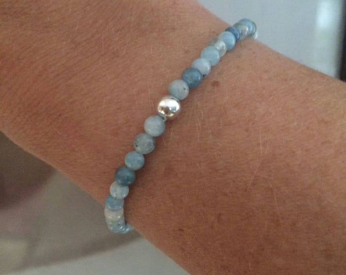 AQUAMARINE STRETCH Bracelet Sterling Silver 4mm Small blue GEMSTONE bead Bracelet small tiny beaded Bracelet March Birthstone jewellery gift
