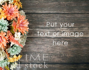 Styled Stock Photo  / Fall Background / Fall Flowers / Autumn / Harvest / Fall Styled / Wood Background / Styled Flowers / StockStyle-877