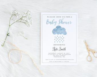 Watercolor Rain Cloud Baby Shower Invitation, Baby Shower, Invitation, Rain, Baby Sprinkle, Baby Shower Invite, Rain Cloud, Rain Drops, DIY