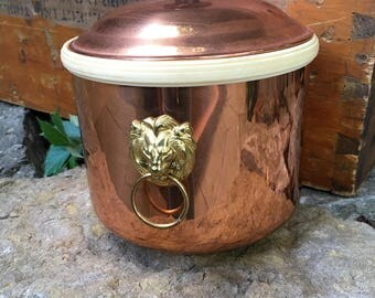Vintage Copper Ice Bucket with Lion Head Brass Hardware Handles Retro Bar Mancave Barware