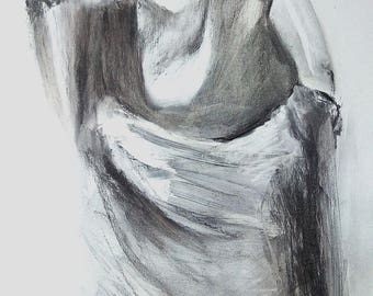 charcoal figure art etsy