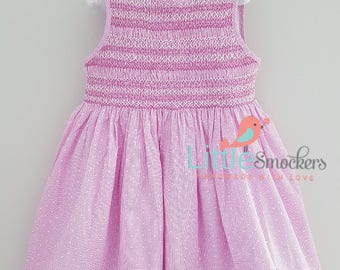 Beautiful pink and white hand smocked dress