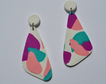 Pink purple teal dangle earring