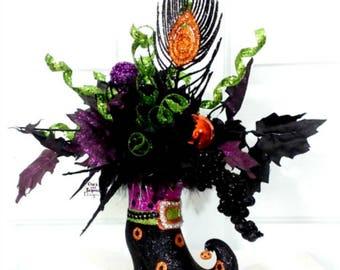 halloween arrangement witch boot decor halloween decorations inside witch boot centerpiece - Halloween Decorations Witch