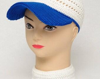 White Baseball Cap Cotton cap Crochet cap Mens Caps Baseball gifts Womens caps casual Mens hats Summer Caps Boyfriend gift idea Mens gift
