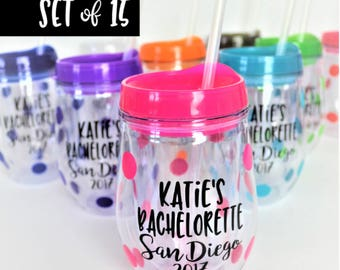 SET of 15 Bachelorette Party Tumblers // Bachelorette Party Cups // Bachelorette Gift for Bride // Bachelorette Favors