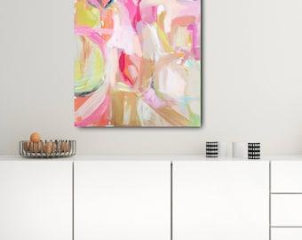 Modern Art Print , Abstract Print, 8x10 and up, pink, rose, mocha, aqua, marendevineart